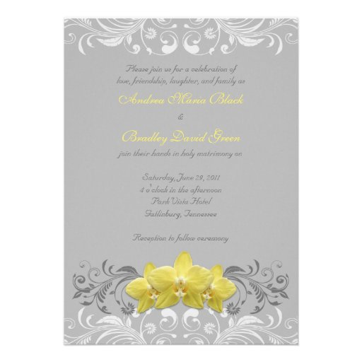 Yellow Orchids Grey Floral Wedding Invitation