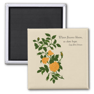 Yellow Ornamental Roses with optional quote Magnet