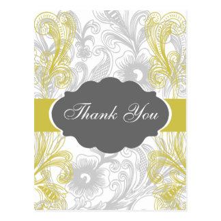 yellow ornate ThankYou Cards Postcards