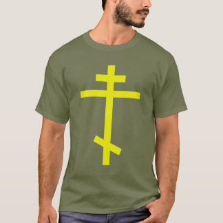 Yellow Orthodox Cross. Olive Drab T-Shirt