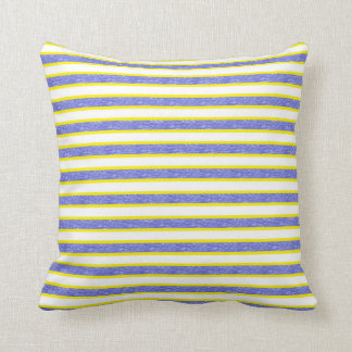 Yellow Outlined Static Blue Stripes Cushion