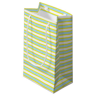 Yellow Outlined Static Pastel Blue Stripes Small Gift Bag