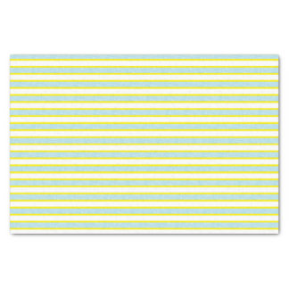 Yellow Outlined Static Pastel Blue Stripes Tissue Paper