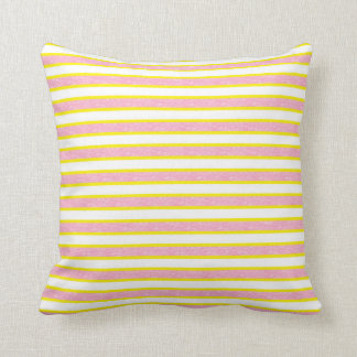 Yellow Outlined Static Pink Stripes Cushion