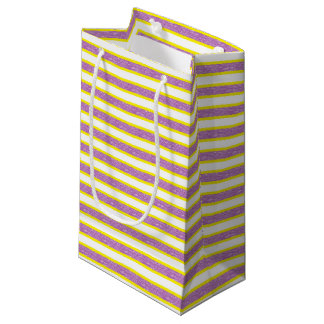 Yellow Outlined Static Purple Stripes Small Gift Bag
