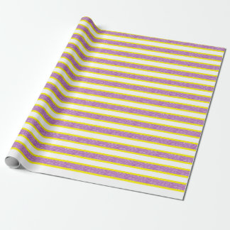 Yellow Outlined Static Purple Stripes Wrapping Paper