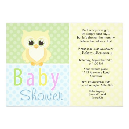 Yellow Owl and Polkadots Baby Shower Invitation