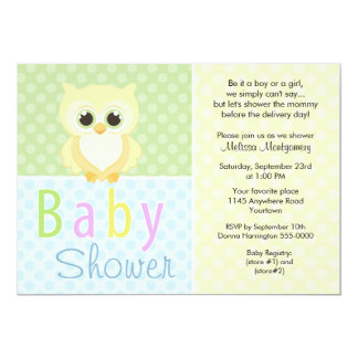 Yellow Owl and Polkadots Baby Shower Invitation