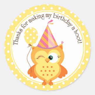 Yellow Owl Birthday Thank You Round Sticker