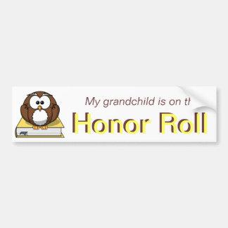 Yellow Owl Grandchild Honor Roll Bumper Sticker