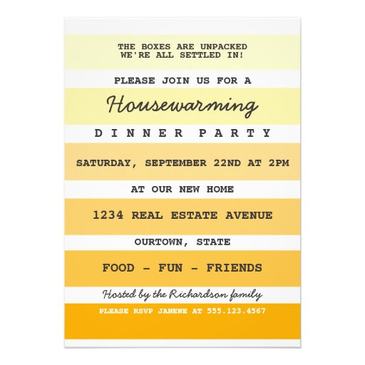 Yellow Paint Sample Housewarming Party Announcements
