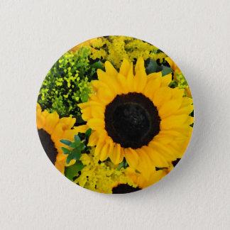 Yellow painted sunflowers 6 cm round badge