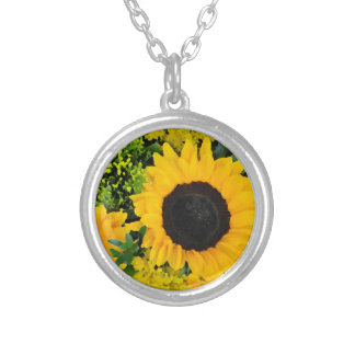 Yellow painted sunflowers custom necklace