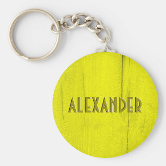 Yellow Painted Wood Faux Carved Name Basic Round Button Key Ring