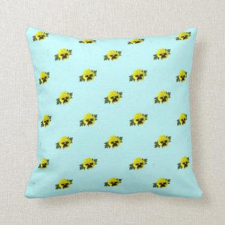 Yellow Pansies On Blue Throw Pillow