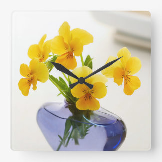 Yellow Pansies Purple Vase Pansy Flowers Spa Bath Square Wall Clock