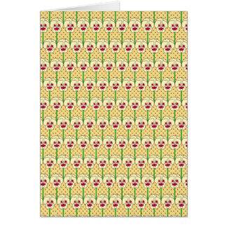 Yellow pansies - retro wallpaper pattern card