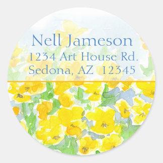 Yellow Pansies Watercolor Flowers Return Address Classic Round Sticker