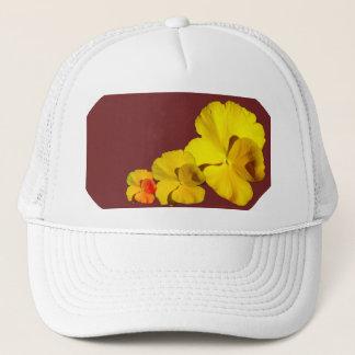 Yellow Pansy Floral Motif on Maroon II Trucker Hat