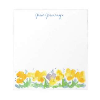 Yellow Pansy Flowers Watercolor Floral Art Notepad