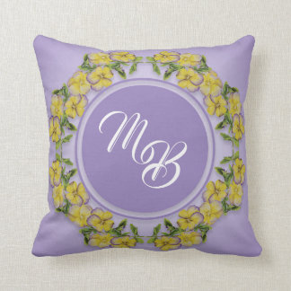 Yellow Pansy Monogram Circle Design with Mauve Cushion