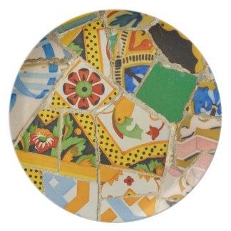 Yellow Parc Guell Tiles in Barcelona Spain Plate