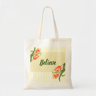 Yellow Parrot Tulips Flower Floral Art Tote Bag