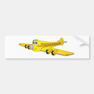 Yellow Passenger Jet Cartoon Bumper Sticker