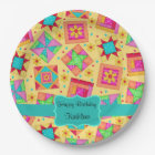 Yellow Patchwork Quilt Block Name Happy Birthday Paper Plate