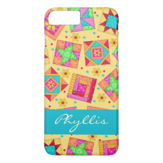 Yellow Patchwork Quilt Block Name Personalized iPhone 7 Plus Case