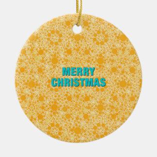 Yellow Pattern Merry Christmas Round Ceramic Decoration