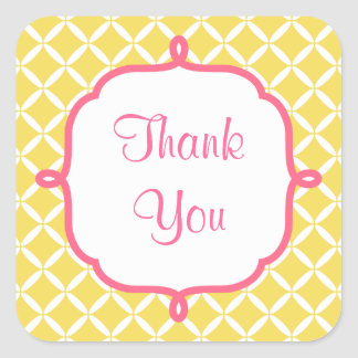 Yellow Pattern Thank You Stickers