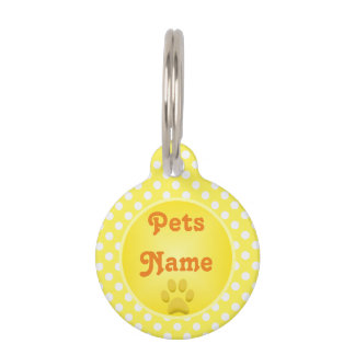 Yellow Paw Print and Polka Dots Personalized Pet Tag