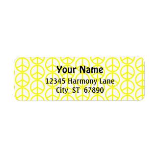 Yellow Peace Sign on White Custom Address Label