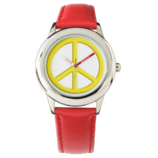 Yellow Peace Sign Watches
