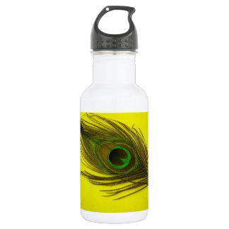 Yellow Peacock Feather 532 Ml Water Bottle