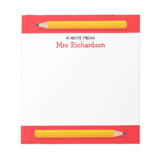 Yellow pencils personalized name teacher notepad
