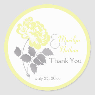 "Yellow Peony with Gray and White1.5"" Round Sticker"