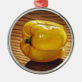 Yellow Pepper Metal Ornament