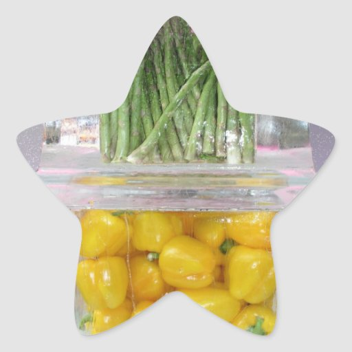 Yellow peppers in ice sticker