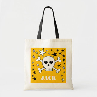 Yellow Personalizeable Crossbone Skull and Stars Canvas Bags