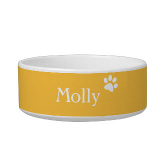 Yellow  | Personalized Cat Dish Cat Food Bowls