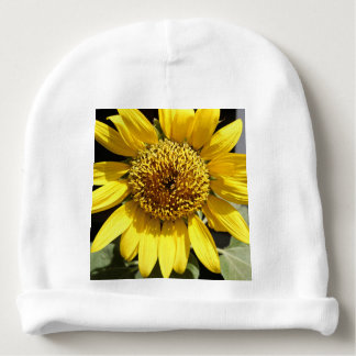 Yellow petals of a large sunflower baby beanie