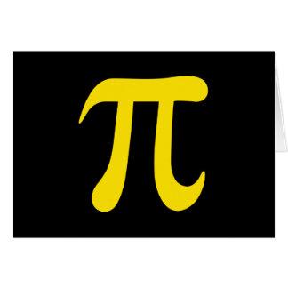Yellow pi symbol on black background card