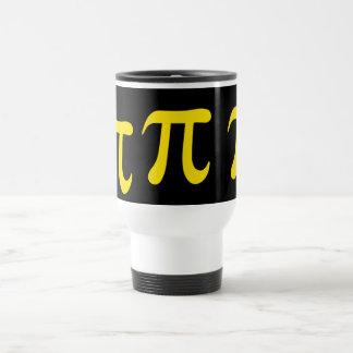 Yellow pi symbol on black background mug