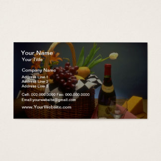 Yellow Picnic basket with wine, cheese, bread and Business Card