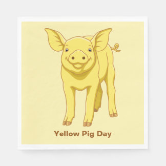Yellow Pig Day July 17 Cute Piglet Disposable Napkins