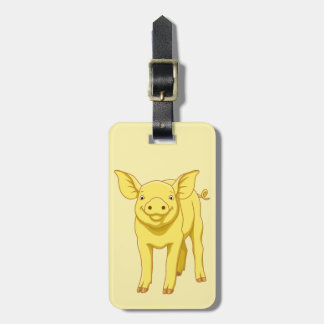 Yellow Pig Day July 17 Cute Piglet Luggage Tag
