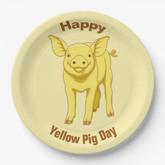 Yellow Pig Day July 17 Cute Piglet Paper Plate