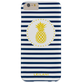 Yellow Pineapple Navy Striped Personalized | Barely There iPhone 6 Plus Case